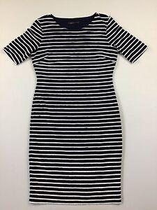 ❤️WOW! Ladies M&S COLLECTION Blue White Stripe T-shirt Wiggle Dress UK 12 VGC✔️