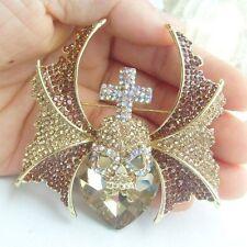 Love Heart Cross Bat Wing Skull Brooch Pin w Topaz Rhinestone Crystals EE05124C2