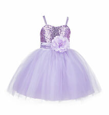 Sequin Mesh Flower girl dress Tulle Toddler Pageant Wedding Graduation 1508