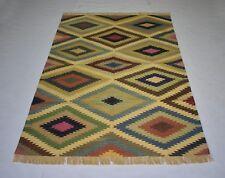 Handmade Cotton Multi Color Kilim Rug Geometric Traditional Home 4x6 Rug