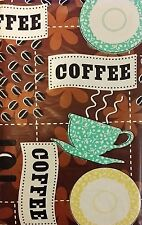 Coffee Break Vinyl Table Cover Tablecloth 52 x 90 Oblong Kitchen Essentials
