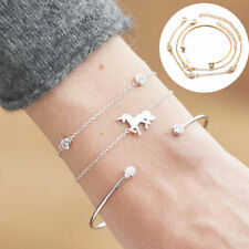 3pcs Unicorn Bracelet Rhinestone Chain Magical Horse Bangle Cuff Anklet Jewelty