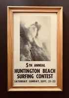 RARE & ORIGINAL Framed 1963 5th Annual Huntington Beach Surfing Contest Poster
