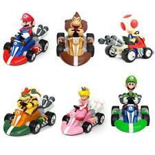 6Pcs Super Mario Mini Kart Luigi 4 Wheel Pullback Figure Doll Car Toys Gifts Set