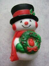 Hallmark Christmas Merry Mini / Miniature 1976 Snowman w/ Wreath-Redbird #Xpf44