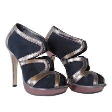 TOP SHOP Party Platform Black Bronze Nude High Heels Sandals Elastic Shoes Uk 4