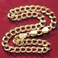 "10k yellow gold 8.0"" double link charm bracelet vintage handmade 2.0gr"