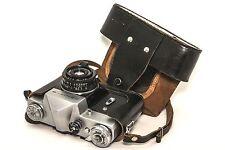▶ Zenit-B 35mm film SLR Camera USSR with Industar-50-2  lens ▶ Leather Case
