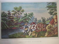 Vintage Currier & Ives America Color Print, The Trout Stream