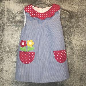Florence Eiseman 18M Stripe dress with flowers Pockets Blue Pink