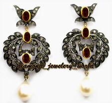 Studded Silver Dangler Earring Jewelry Antique 2.19cts Rose Cut Diamond Gemstone