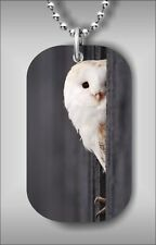 BIRD WHITE OWL HIDDEN IN A BARN DOG TAG NECKLACE PENDANT FREE BALL CHAIN -drf3Z