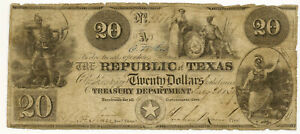 1839 $20 REPUBLIC OF TEXAS ~ Red Back ~ Cut-Cancelled ~ Original!