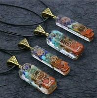 7 Chakra Amethyst Anhänger Kristall Halskette Energie handgemachte DIY Schmuck