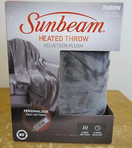 Sunbeam Electric Heated Throw Blanket Velveteen Plush - Gray 1330016 New In Box