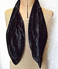COOL VINTAGE NEAT NARROW BLACK CUT OUT PATTERN VELVET SCARF SMART EVENING GOTH