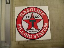 "Vintage Texaco Gas Filling Station sticker 9"" diameter"