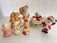 Vintage 1950s Gurley Christmas Candle Santa Claus sleigh angel choir Lot 7
