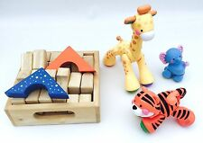 Set Bundle of 3 Toddler Animal Toys and Wooden Blocks in a Crate