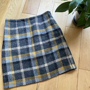 Boden Size 6 grey yellow checked Moon British tweed skirt straight wool lined