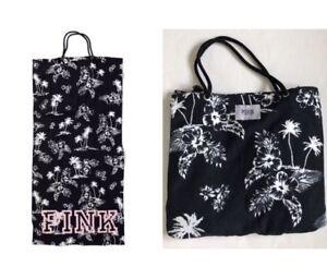 VS VICTORIAS SECRET PINK PACKABLE TOWEL TOTE TRAVEL BAG  TROPICAL PRINT BLACK