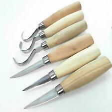 Beber Six Piece Wood Whittling Set + Leather Roll Chisels Hook Tools Carving