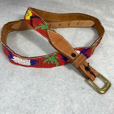 Vintage 1970s Cdg Comme Des Garcons Beaded Fish Leather Belt 36