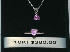 10K White Gold Necklace/Pendant/Ring with Pink Sapphire