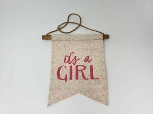 Tag Ltd Burlap It's a Girl Decorative Banner Flag - New