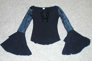 JOYCE LESLIE Black Top Flare Ruffle Velvet Sleeves Lace Up Front Shirt Small