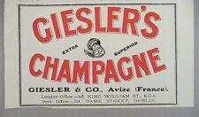 Giesler's Champagne PRINT AD - 1928 ~~ Avize, France
