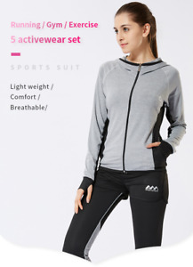 Women Yoga Set Top & Pants Running Gym Sport Wear Workout Clothes Tights Set AU