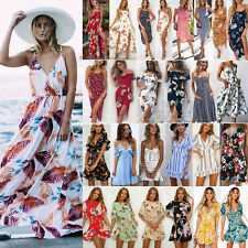 b915949a088 US Women Boho Floral Long Maxi Dress Evening Party Beach Dresses Summer  Sundress