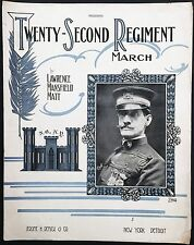 "1913 ""TWENTY-SECOND REGIMENT MARCH"" MILITARY SHEET MUSIC LARGE FORMAT - NEW YORK"