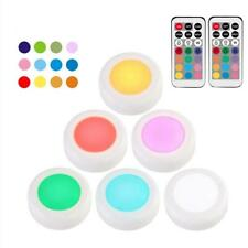 6 Pack RGB LED Wireless Puck Night Light with Remote Control For Under Cabinet