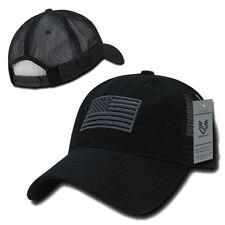 Black USA US American Flag United States America Polo Trucker Baseball Hat Cap