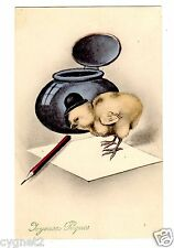 POSTCARD FRENCH EASTER GREETING CHICK IN BOWLER HAT WANTS TO WRITE