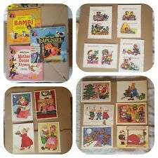 Vintage Collectables..Disney books With 33 1/3 Record, Retro labels/Postcards...