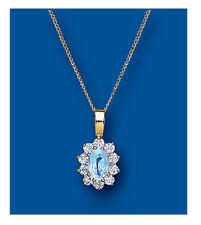 Blue Topaz Pendant Blue Topaz Necklace Yellow Gold Blue Topaz Pendant Cluster