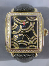 New Michele Art of Deco Diamond Black & Gold Ladies Watch MW06T01B0993 Box NIB