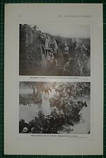 1916 WWI WW1 PRINT ~ FRENCH RESERVE TRENCHES VERDUN ~ ARTILLERY WATER HORSES