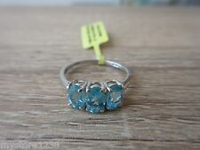 Madagascar Paraiba Apatite 3 Stone Ring Platinum Overlay Sterling Silver Size 7