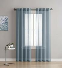 NEW -Linen Zone 2-Piece 54-by-108-Inch Grommet Sheer Panel Curtains, Dusty Blu
