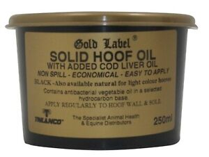 Gold Label Solid Hoof Oil Black 250ml