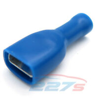 100x Fully Insulated Blue Female Electrical Spade Crimp Connector Terminals
