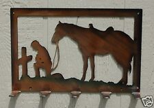 Cowboy Praying At Cross Key or Lead Rope Hanger Metal Wall Art