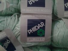 "Phildar Coton ""D'Egypte"" Sport 9-Skeins Same Dyelot #036-25-7027 Mint Green, New"