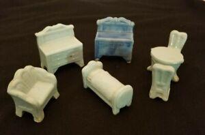 7 pcs-Vintage Japan Porcelain Miniature Doll House Furniture Dresser Bed Table