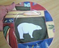 Vtg American Atelier NORTHERN LIGHTS Salad Plate Ceramic BEAR CANOE LODGE CABIN