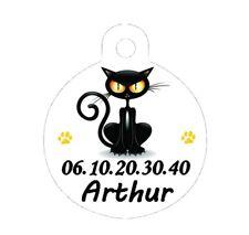 Médaille ronde chat personnalisée avec nom et n°de téléphone